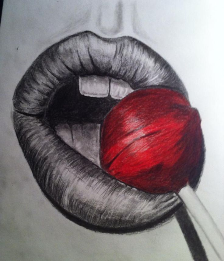 Pencil drawing mouth www.inesreder.com