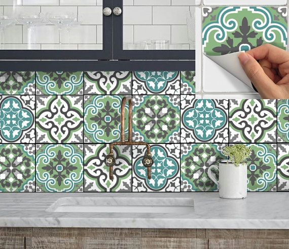 Tile Sticker Kitchen bath floor wall Waterproof & by SnazzyDecal