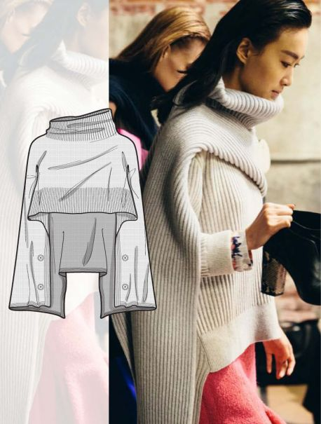 Knitwear flat drawings, vector technical sketches for Fall winter 2017-18 Trend forecasting by 5forecaStore