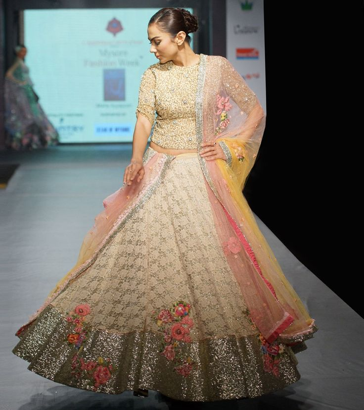 Beige #Sequined #Lace #Lehenga Set