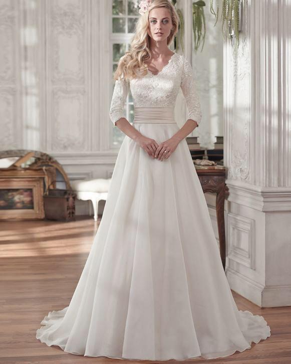 Bruidsjurk elegante a lijn van chiffon met mooie kanten top