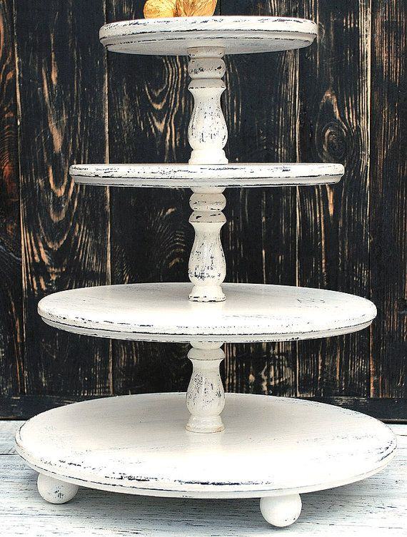 Wedding 4 tier Shabby White Cupcake Stand Shabby by WoodenShopCo