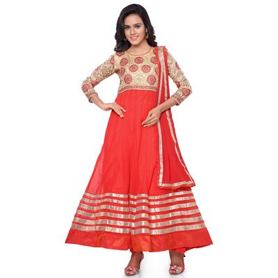 New Designer Cream & Orange Anarkali Suit - Buy Online in India for prices starting at Rs. 1199 on Shimply.com. ✔ Fast Shipping ✔ 7 Days Return ✔ Genuine Products