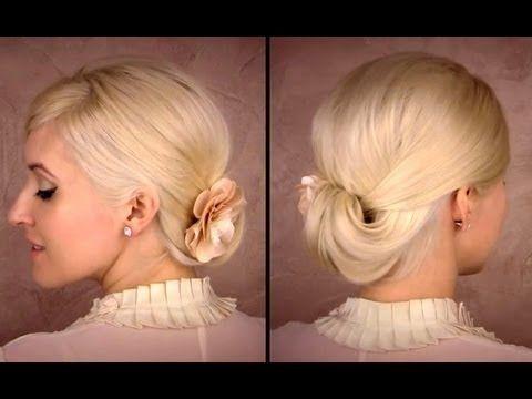Elegant updo for medium long hair tutorial for work, office Easy spring look bridesmaid hairstyle #bridesmaidhairstyleyoutube