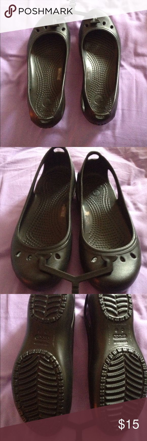 Crocs Brand new, never worn, size 6, black, very cute, croc slip on. Super comfy, and if you've never had a pair of crocs now is your chance to get a pair super cheap! CROCS Shoes Flats & Loafers