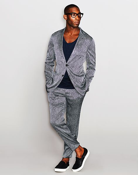 Tinie Tempah wearing a seersucker silk jacket and trousers by #GiorgioArmani.
