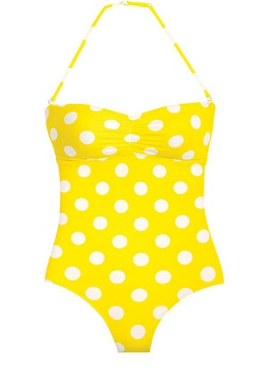 Delia's long torso shirring bandeau one-piece (comes in other colors & patterns). Featured in InStyle. #swim #beach #swimsuit