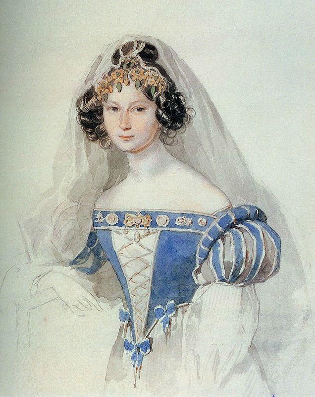 Софья Владимировна Комаровская (1808-1876), сестра поэта Д.В.Веневитинова, с 1830 года жена графа Е.Е.Комаровского (1803-1873). Изображена в свадебном наряде.