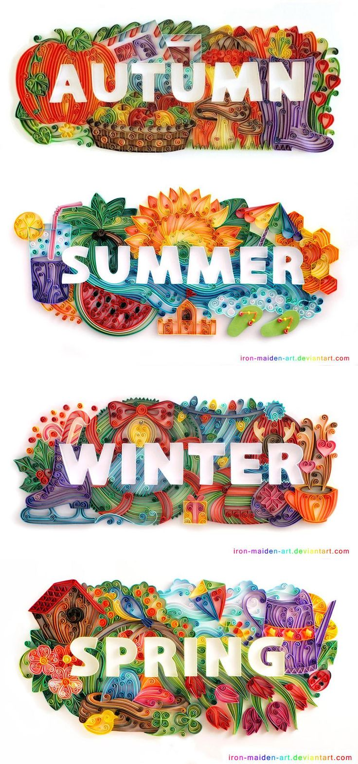 Autumn/Fall, Summer, Winter, and Spring quilled! So creative! Letras hechas en cartulina, papel de colores con efecto 3D