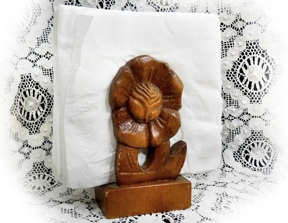 Floral napkin holder – Wood napkin holder -wood carved letter holder – Thai wood carving ,Table Deco