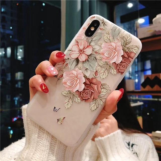 iphone 7 plus blumen hülle 3d