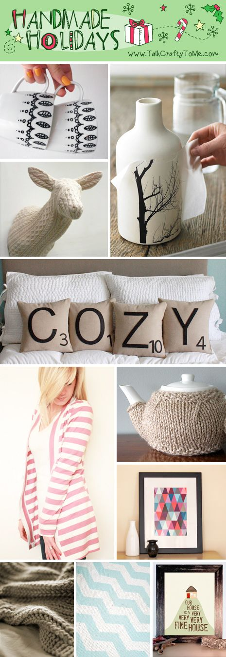 "HandmadeGiftsforHomebody Handmade Gift Guide: Gifts for The Homebody -love the ""scrabble"" pillows!"