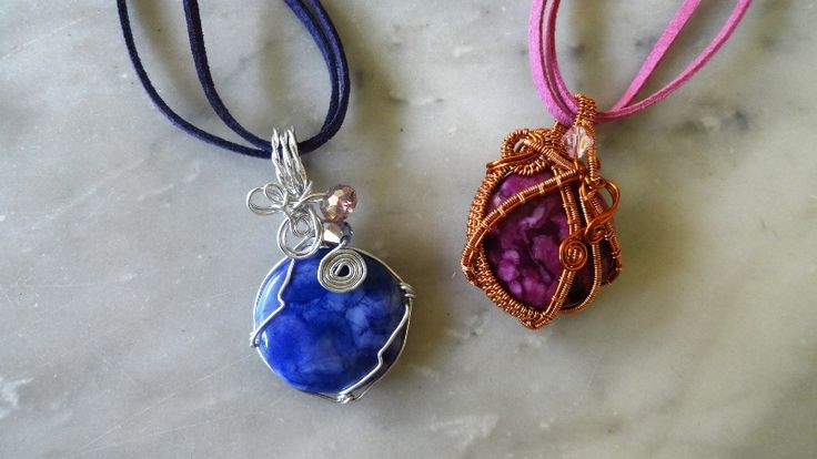 #wirejewelry #copperwire #aluminumwire #pendant #necklace #marblestone