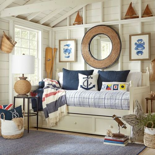 Nautical Decor by Birch Lane: http://www.completely-coastal.com/2016/03/coastal-decor-birch-lane.html Nautical nook with daybed.