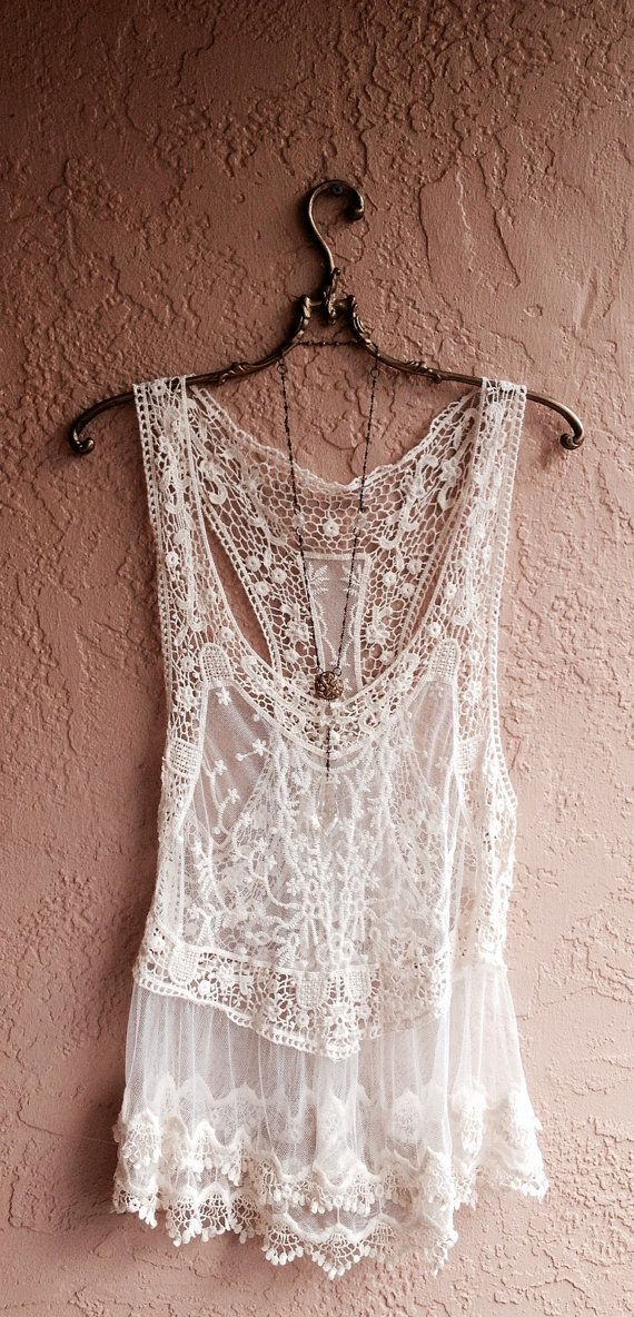 Bohemian Lace and crochet sheer mesh beach camisole by BohoAngels, $60.00