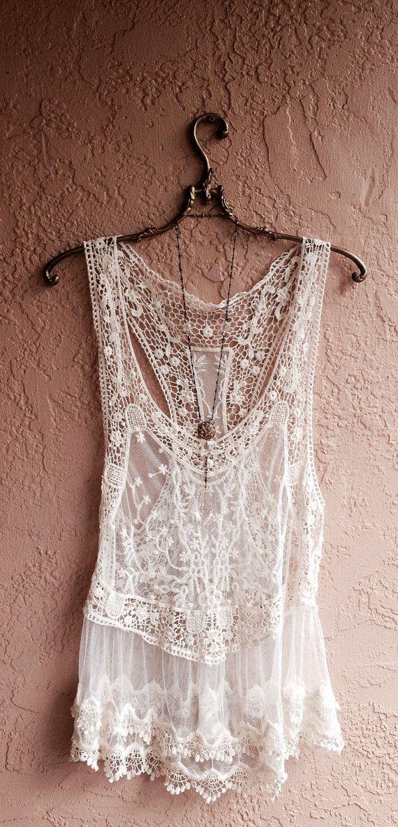 Bohemian Lace and crochet sheer mesh beach camisole coverup gypsy hippie boho chic wedding