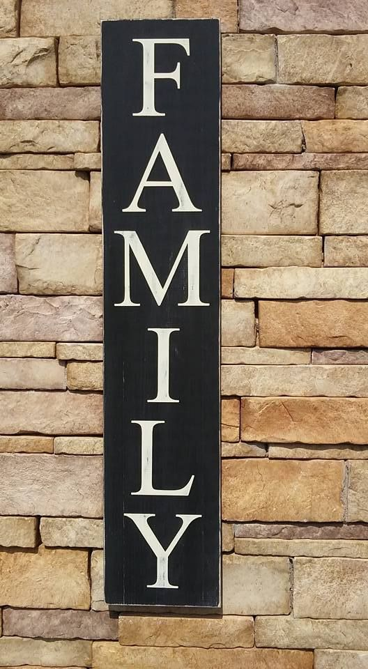 FAMILY vertical wooden sign by CreateYourWoodSign.com - Wooden Signs Company, LLC