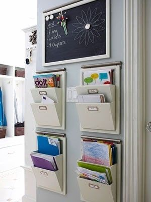 nice wall storage for bench area of mudroom - combine with hooks for backpacks and whiteboards for each child's messages