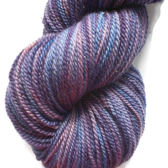 "Merino Glitter Luxury Sock Yarn Purple, Blue, Violet. Pink Hand Dyed ""Nordich Star"", 2-ply Sock Yarn, Purple, Blue, Violet, Pink Yarn,"