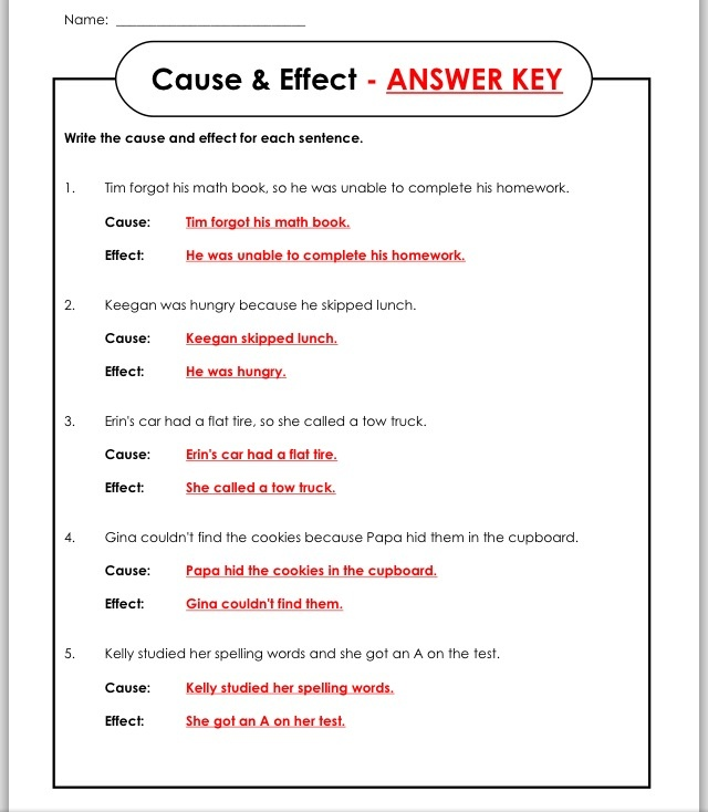 Answer Key Worksheets Fun School Things Cause Effect