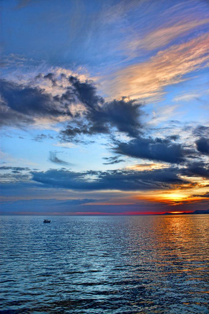 Sunrise scene  Rethymno, Crete , Greece