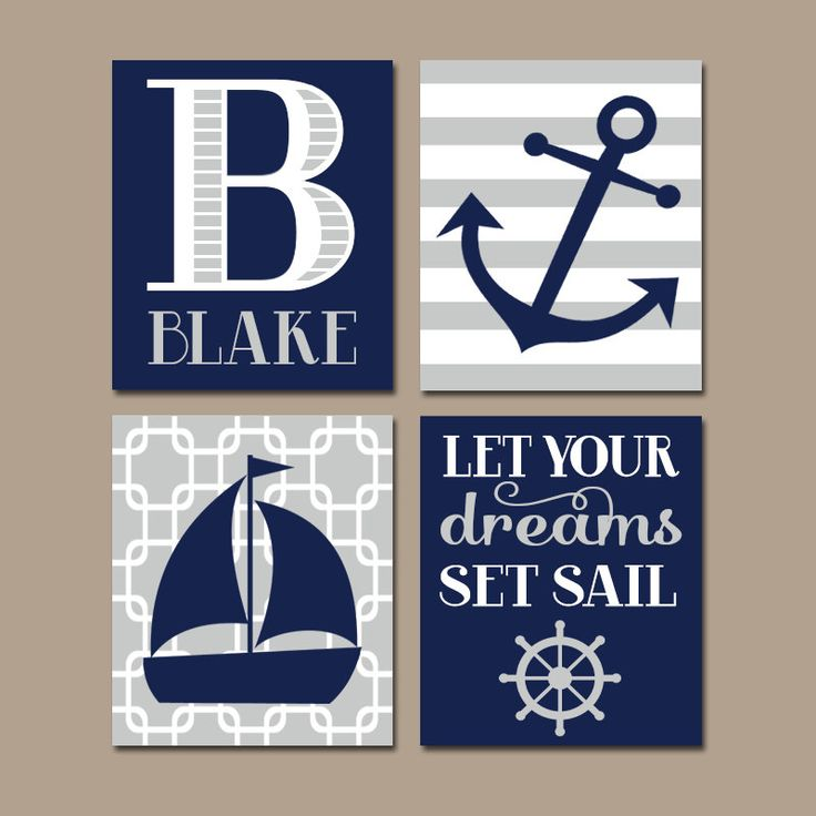 NAUTICAL Nursery Wall Art, CANVAS or Prints, Baby Boy Nursery Artwork, Navy Gray Bedroom Decor, Sailboat Anchor, Coastal Theme,Set of 4 Sail