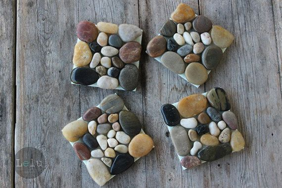 Mixed polished pebble drink coasters set of 4 rustic eco-friendly home decor