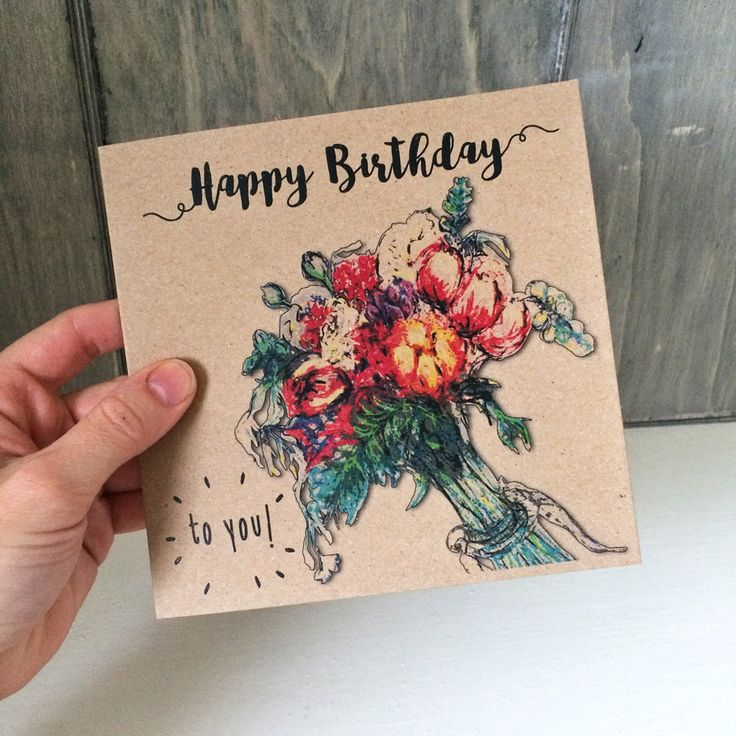 Floral Birthday Card, happy birthday card for her with flower bouquet, ideal card for mum, girlfriend, aunt, recycled birthday greeting card by BitterLimeDesigns on Etsy