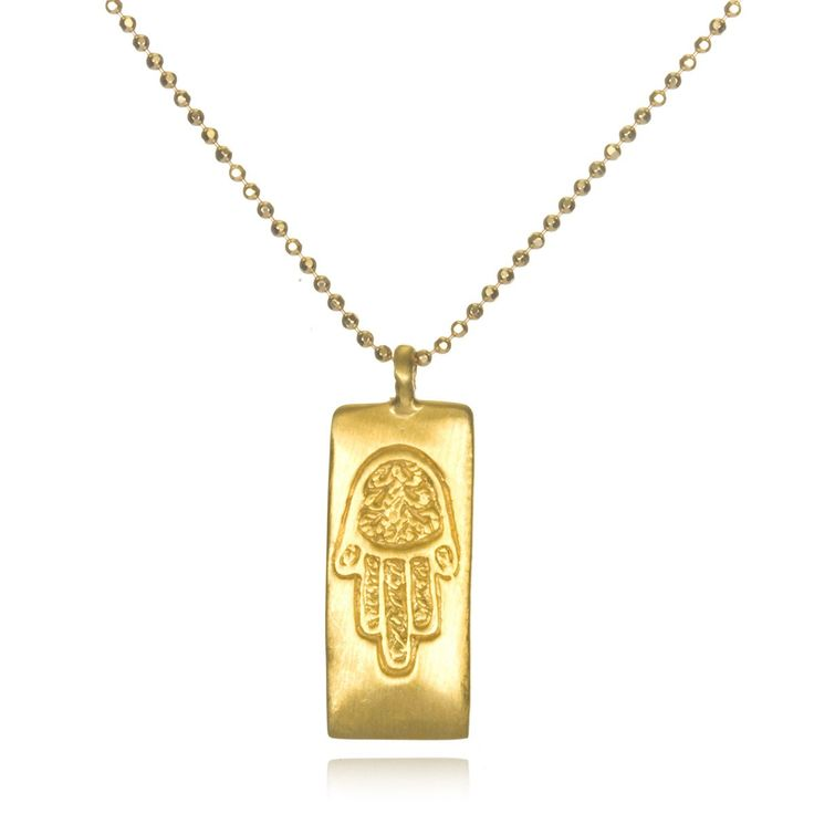Gold Hamsa Necklace, the hand of protection