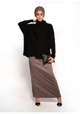 Jupe droite d'hiver taupe pour femmes musulmanes boutique hijab chic et moderne