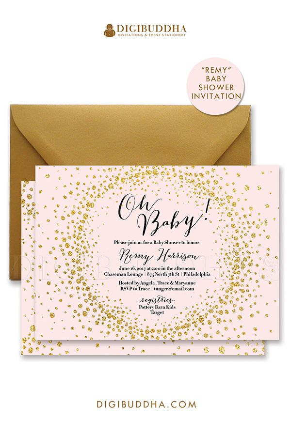 Blush pink and gold glitter sparkle baby shower invitations for a baby girl shower. Gold glitter burst sparkle, black calligraphy lettering, either in ready made printed cards with envelopes or choose printable baby shower invitations instead. Gold shimmer envelopes also available, at digibuddha.com
