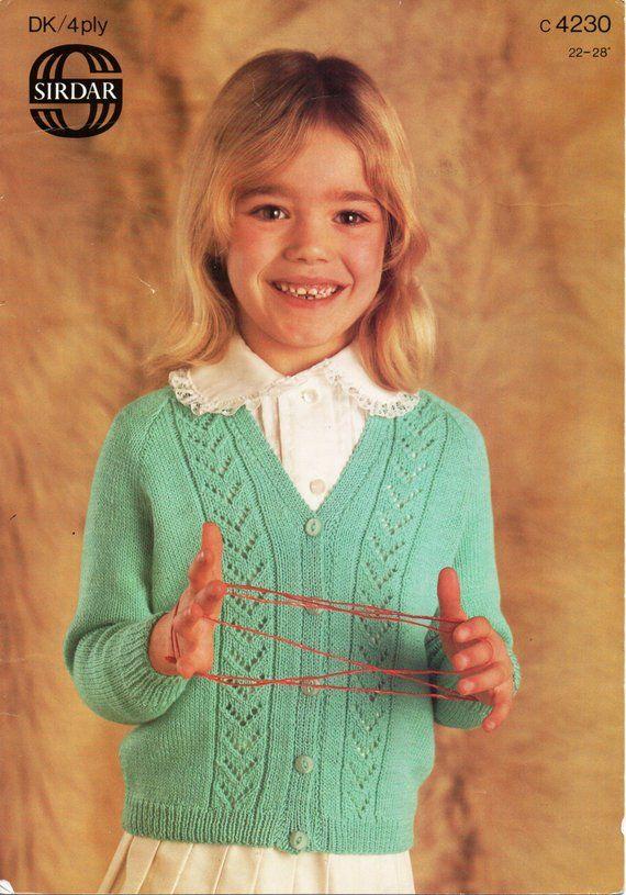b8005a767f36 2C8041 Girls Knitting Patterns Girls Cardigan V Neck Cardigan Lacy Cardigan  4 Ply Cardigan DK Cardigan