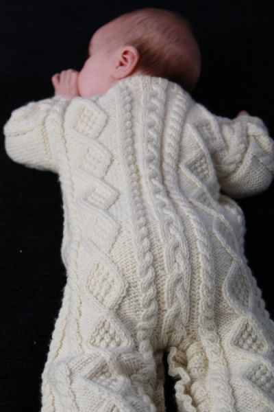 Great practice for cable knitting! Baby Aran Body Suit, Hat & Booties - E...