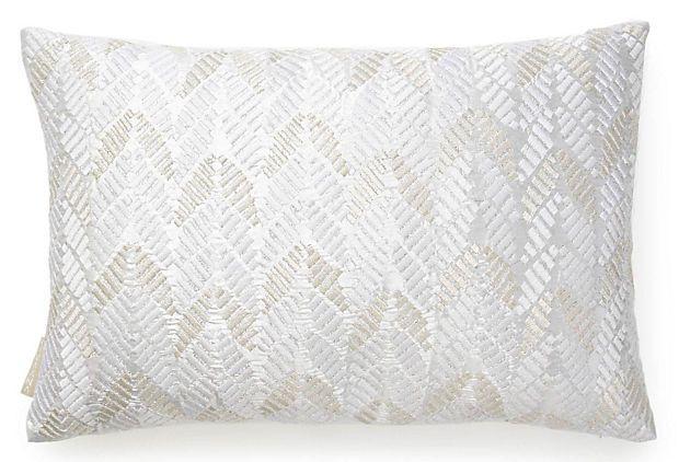 Leaves 13x20 Silk Pillow, White on OneKingsLane.com