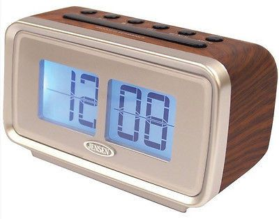 Jensen AM FM Dual Alarm Clock Radio Retro 1970s Flip Digit Design Brown Silver
