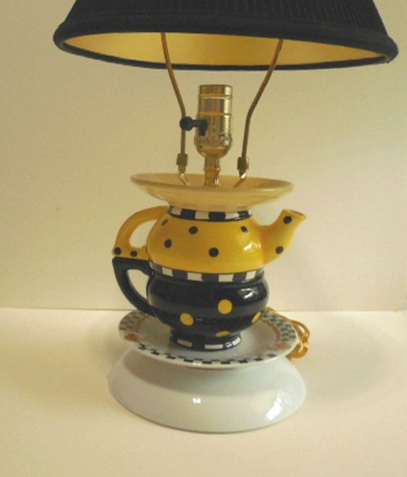 Teapot Lamp, Yellow, Black, Dots, Checks, Childs Room Upcycled Dinnerware lamp by CarolSchiffStudio on Etsy