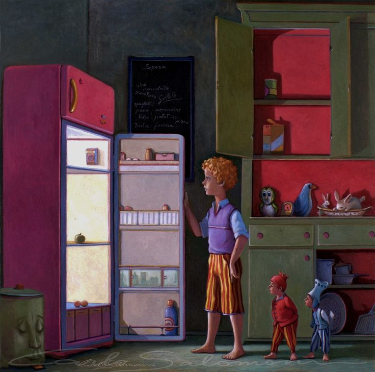 Illustrazione n° 1 - DISPENSA E FRIGORIFERO VUOTI - FOR SALE >>>>>> http://www.saatchiart.com/art/Painting-PANTRY-AND-REFRIGERATOR-EMPTY-by-Mangia-Re/786738/2474559/view <<<<<<- 50 x 50 cm - color pencils, acrylics, oil on wood panel - 2006- Carlo salomoni Art - ITALY - All Rights reserved.