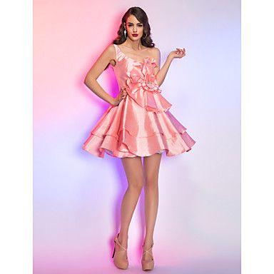 a-line/princess un umăr scurt rochie mini / tafta cocktail / balul de absolvire – USD $ 79.29