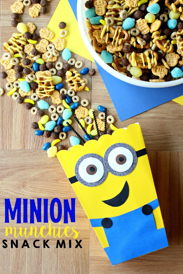 Young At Heart Mommy: Minion Munchies Snack Mix-This has OKC Thunder colors that would be fun for game night, too!