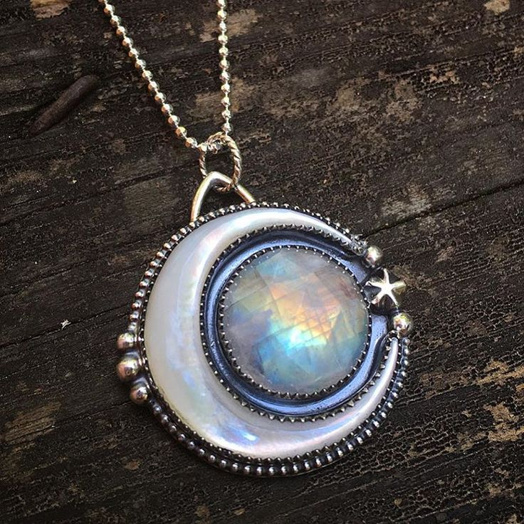 Lunar Dream Pendant ~ rainbow moonstone, carved mother of pearl crescent, sterling silver ~ by Lavender Star Designs