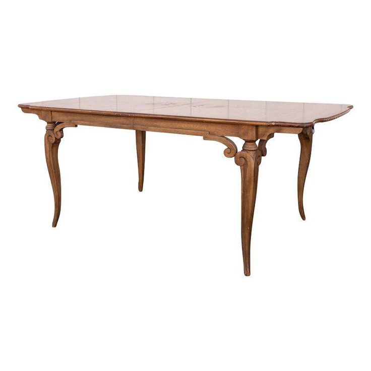Large Traditional Dining Table With Two Leaves on Chairish.com