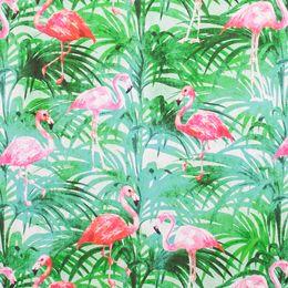 Flamingos em tons de rosa vivo espalham-se entre a folhagem verde da floresta tropical. Perfeito para dar um toque diferente e especial à decoração de sua casa. Adequado para cortinados e estores, almofadas e exterior.