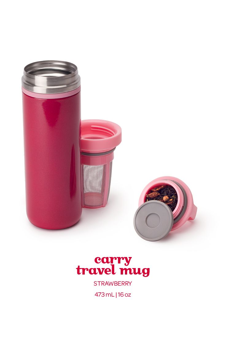 A leakproof, take-anywhere mug in a pretty shade of deep pink.