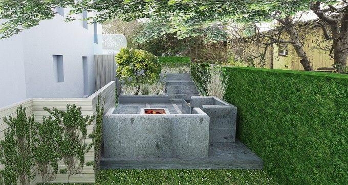 Lounge plats in concrete, patio, concrete steps, Stockholm