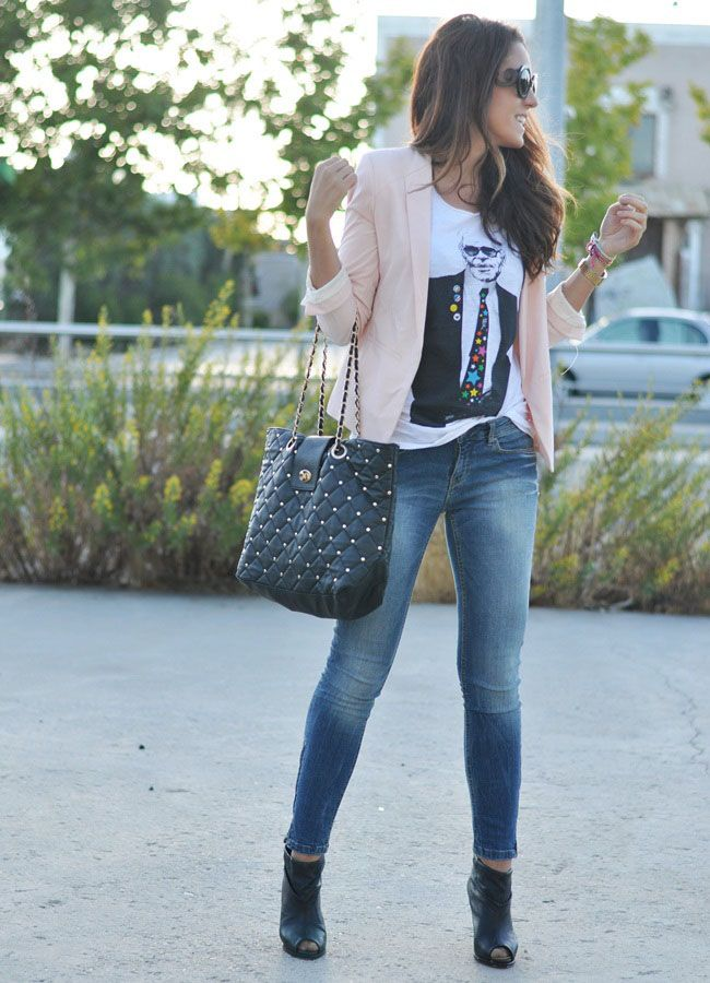 Tees with a blazer and jeans