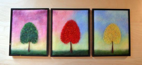 """Wool Painting """"Colorful Trees"""", Wool Art, Fiber Art, Felt Painting, Felt Art…"""