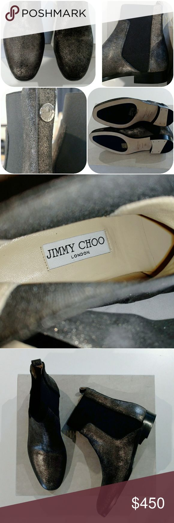 🆕NIB🆕Jimmy Choo Hallow Leather Chelsea Boots Shine bright in these shimmering Suede black + gold ankle boots exclusively by Jimmy Choo!  Size 5.5 on sole, Color: Anthracite, brand new in box!  Retails for $975+ tax. New in box + duster (box has some scuffing from handling.)  No trades. Jimmy Choo Shoes Ankle Boots & Booties #jimmychooshoes