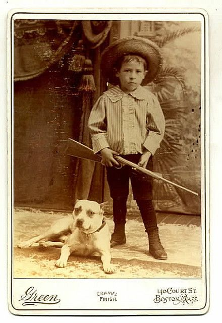vintage pit bull and child