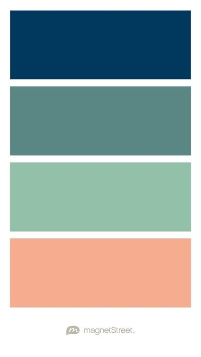 Navy, Dusty Teal, Grayed Jade, and Peach color palette