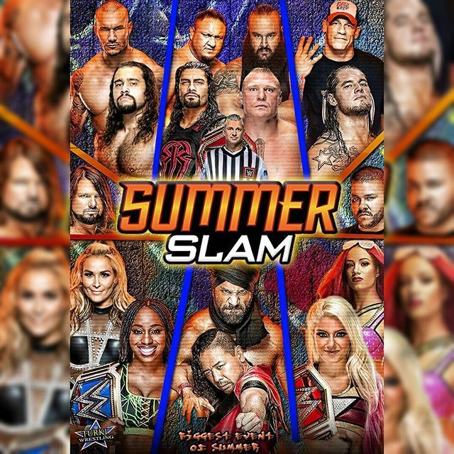 . #summerslam Custom Poster . What do you think ? 🔥 . . Do you like the summerslam match card so far ? . . ======================= . . بوستر عرض سمر سلام من تصميمي 🔥💜 . رأيكم ؟ . وش رأيكم في المباريات إلى الآن ؟ . . . ======================= . . #WWE #ECW #NXT #WrestleMania #wweraw #wwesmackdown #THEUNDERTAKER #undertaker #kane #JohnCena #HulkHogan #tripleh #TheRock #STING #StoneCold #ShawnMichaels #RomanEmpire #RomanReigns #DeanAmbrose #SethRollins #Rko #RandyOrton #Nakamura…